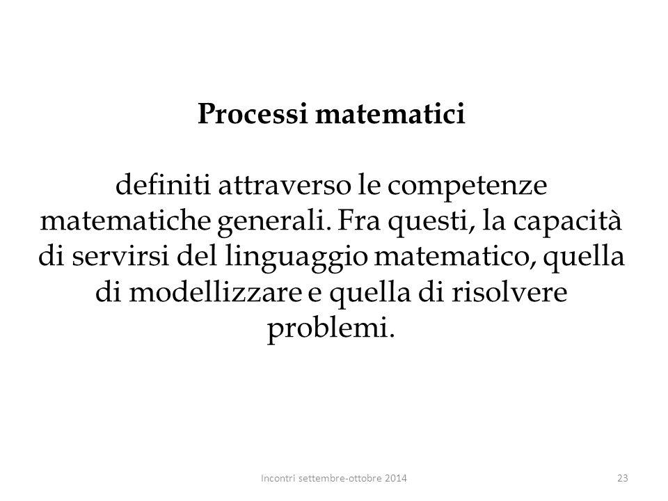 Processi matematici definiti attraverso le competenze matematiche generali. Fra questi, la capacità di servirsi del linguaggio matematico, quella di m
