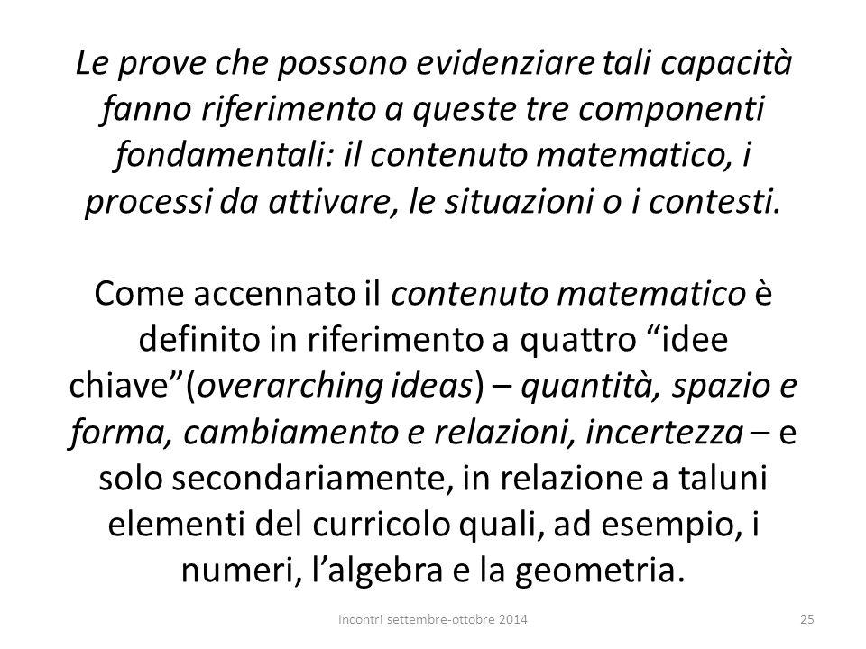 Le prove che possono evidenziare tali capacità fanno riferimento a queste tre componenti fondamentali: il contenuto matematico, i processi da attivare