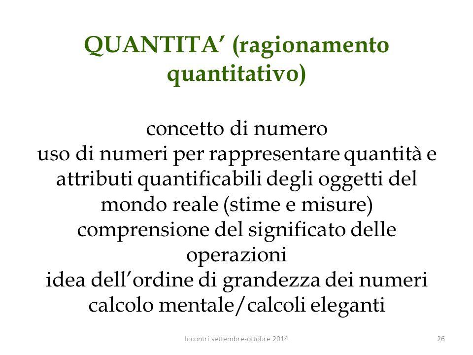 QUANTITA' (ragionamento quantitativo) concetto di numero uso di numeri per rappresentare quantità e attributi quantificabili degli oggetti del mondo r