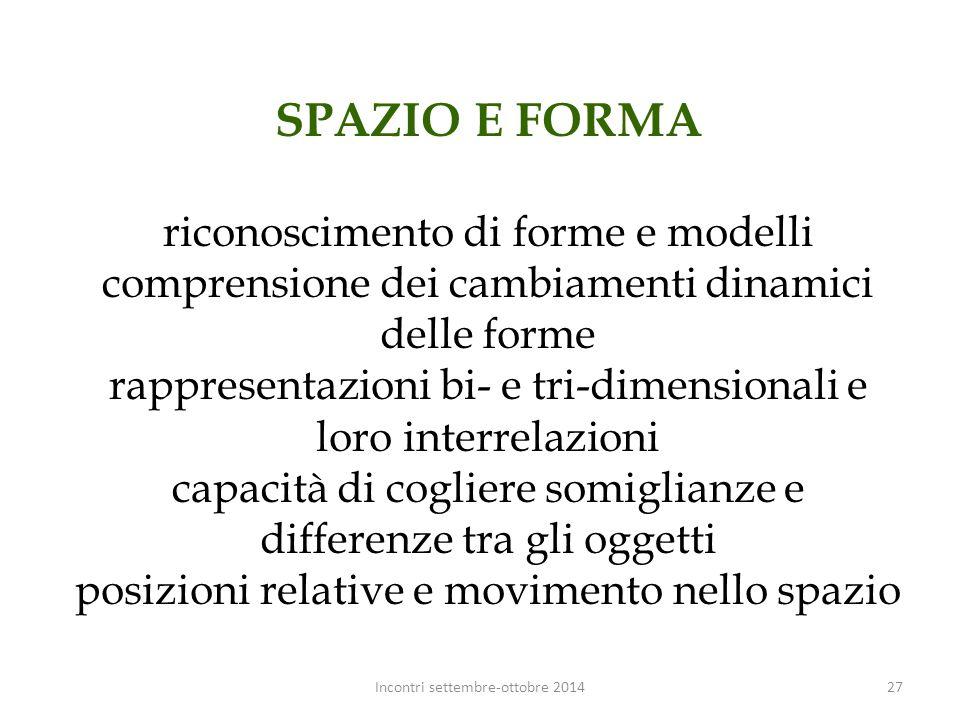 SPAZIO E FORMA riconoscimento di forme e modelli comprensione dei cambiamenti dinamici delle forme rappresentazioni bi- e tri-dimensionali e loro inte