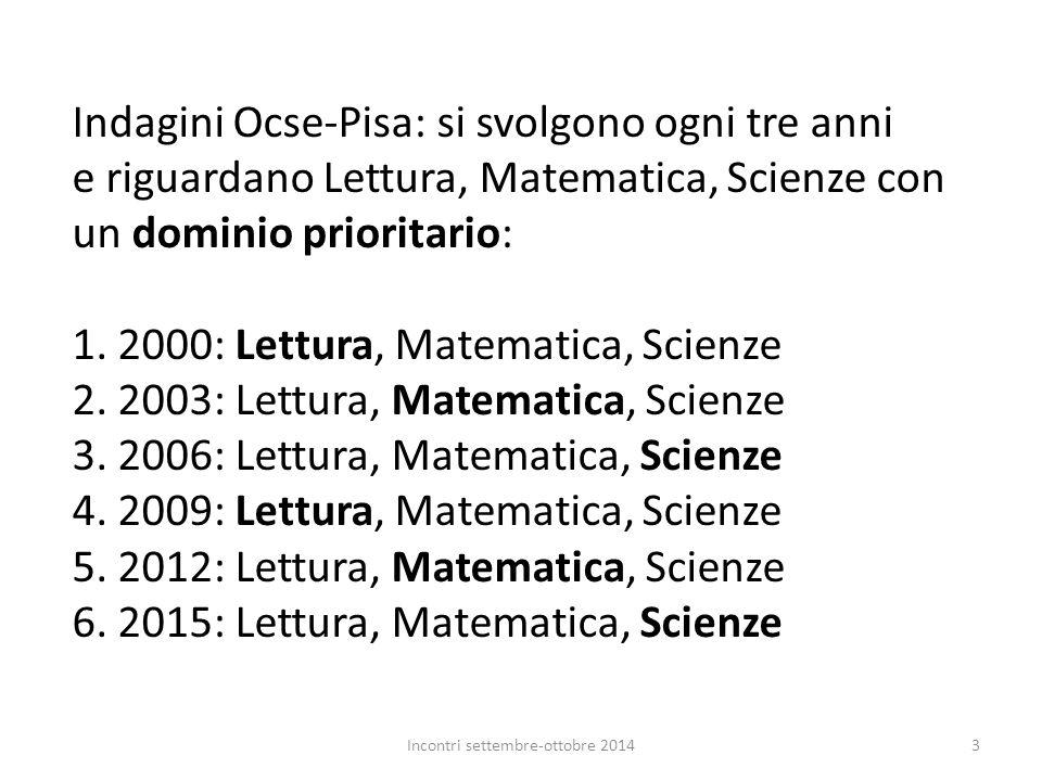 Indagini Ocse-Pisa: si svolgono ogni tre anni e riguardano Lettura, Matematica, Scienze con un dominio prioritario: 1. 2000: Lettura, Matematica, Scie
