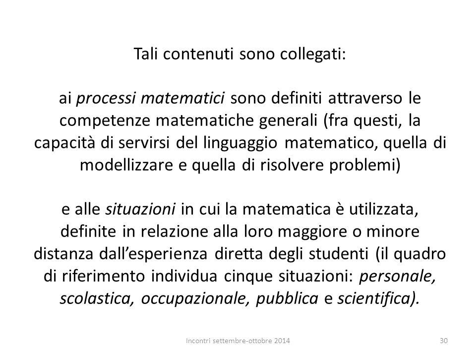 Tali contenuti sono collegati: ai processi matematici sono definiti attraverso le competenze matematiche generali (fra questi, la capacità di servirsi