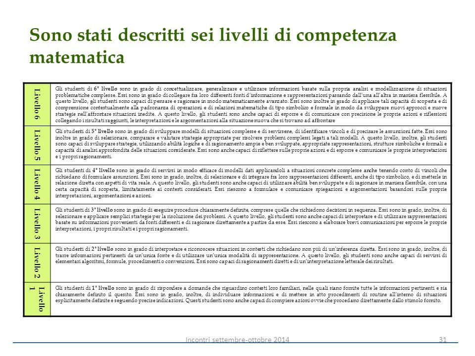 Sono stati descritti sei livelli di competenza matematica Livello 6 Gli studenti di 6° livello sono in grado di concettualizzare, generalizzare e util