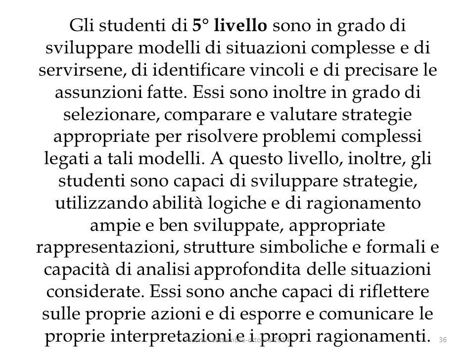 Gli studenti di 5° livello sono in grado di sviluppare modelli di situazioni complesse e di servirsene, di identificare vincoli e di precisare le assu