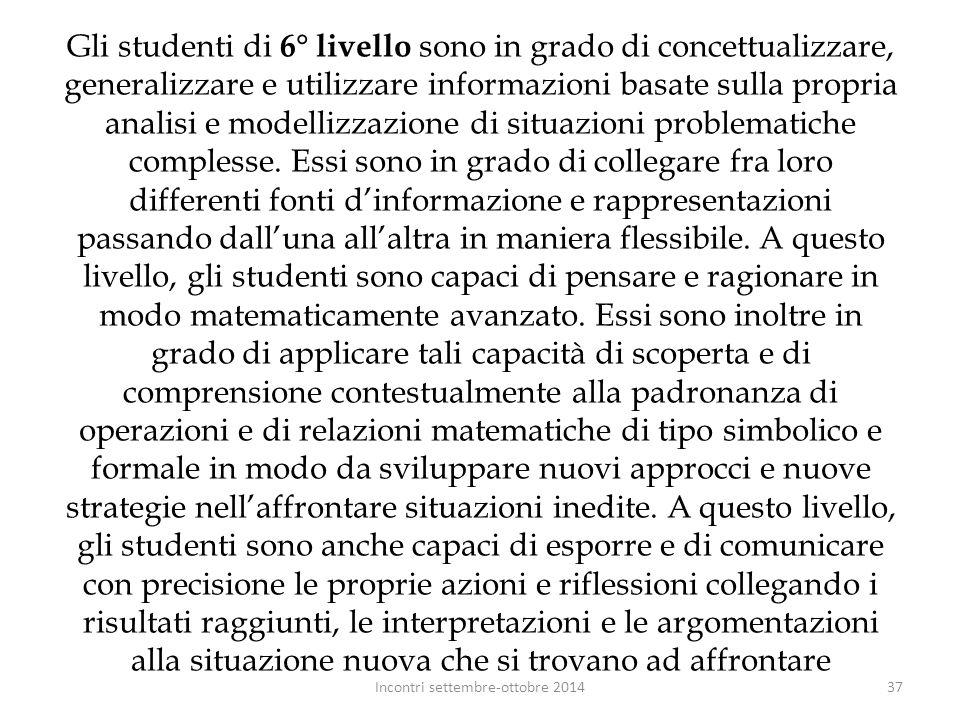 Gli studenti di 6° livello sono in grado di concettualizzare, generalizzare e utilizzare informazioni basate sulla propria analisi e modellizzazione d