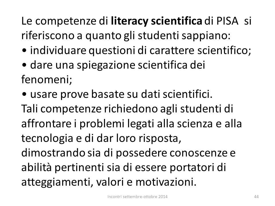 Le competenze di literacy scientifica di PISA si riferiscono a quanto gli studenti sappiano: individuare questioni di carattere scientifico; dare una
