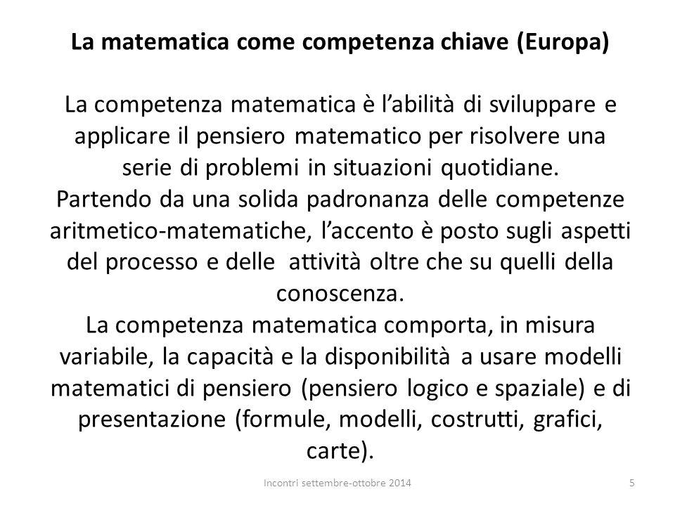 La matematica come competenza chiave (Europa) La competenza matematica è l'abilità di sviluppare e applicare il pensiero matematico per risolvere una
