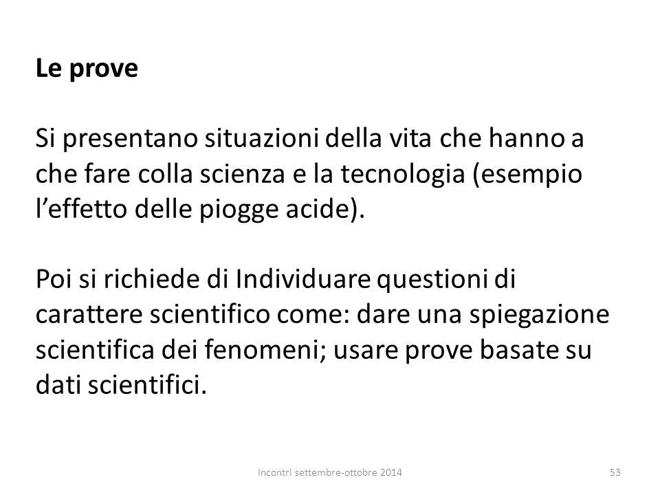 Le prove Si presentano situazioni della vita che hanno a che fare colla scienza e la tecnologia (esempio l'effetto delle piogge acide). Poi si richied