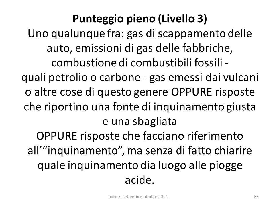 Punteggio pieno (Livello 3) Uno qualunque fra: gas di scappamento delle auto, emissioni di gas delle fabbriche, combustione di combustibili fossili -