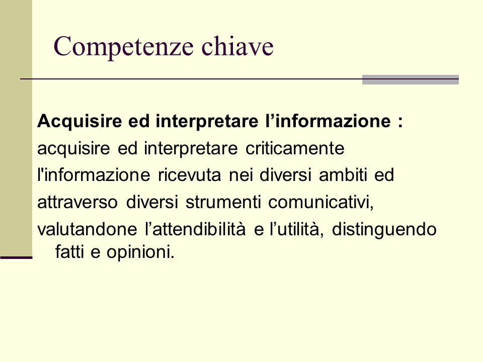 Acquisire ed interpretare l'informazione : acquisire ed interpretare criticamente l'informazione ricevuta nei diversi ambiti ed attraverso diversi str
