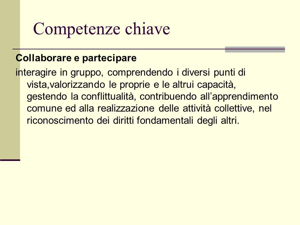 Competenze chiave Collaborare e partecipare interagire in gruppo, comprendendo i diversi punti di vista,valorizzando le proprie e le altrui capacità,