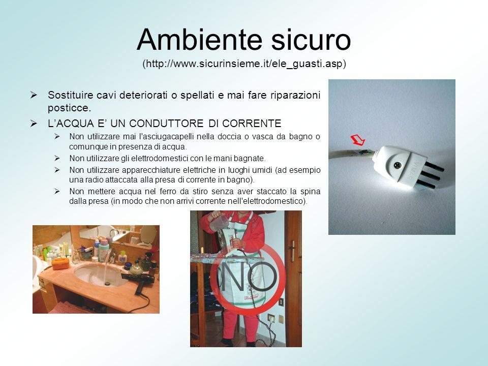 Ambiente sicuro (http://www.sicurinsieme.it/ele_guasti.asp)  Sostituire cavi deteriorati o spellati e mai fare riparazioni posticce.  L'ACQUA E' UN