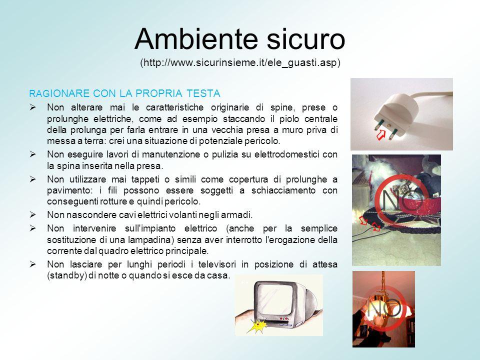 Ambiente sicuro (http://www.sicurinsieme.it/ele_guasti.asp) RAG IONARE CON LA PROPRIA TESTA  Non alterare mai le caratteristiche originarie di spine,