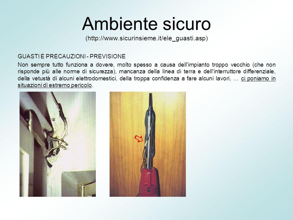 Ambiente sicuro (http://www.sicurinsieme.it/ele_guasti.asp) GUASTI E PRECAUZIONI - PREVISIONE Non sempre tutto funziona a dovere, molto spesso a causa