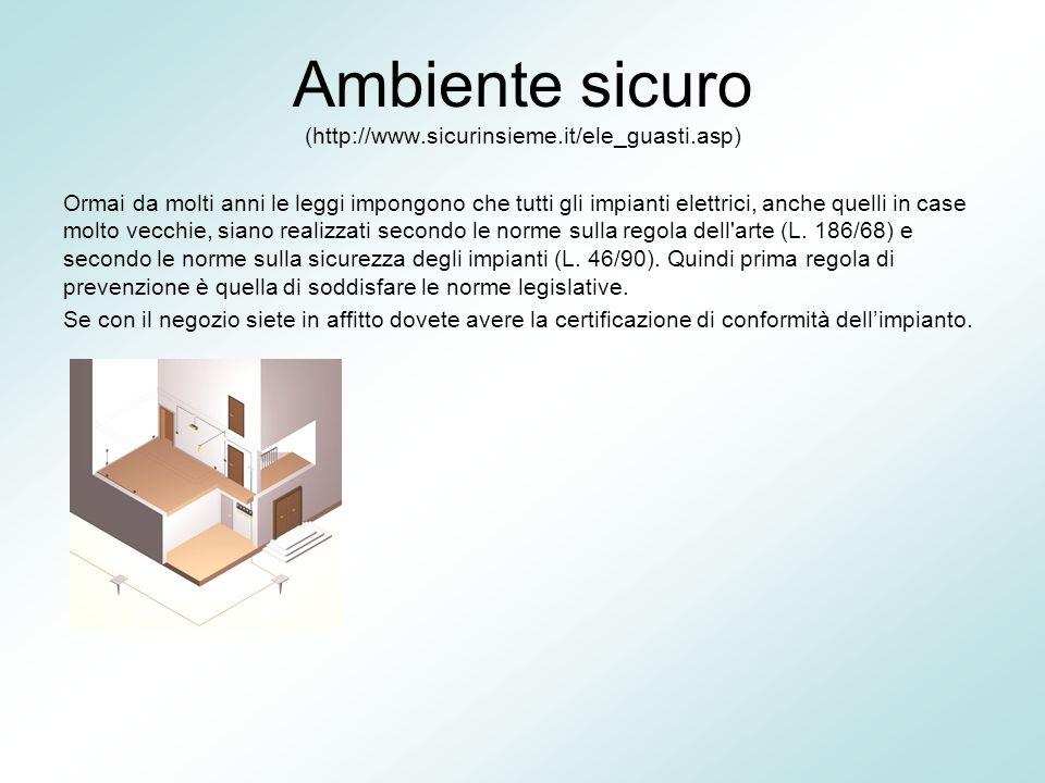 Ambiente sicuro (http://www.sicurinsieme.it/ele_guasti.asp) Ormai da molti anni le leggi impongono che tutti gli impianti elettrici, anche quelli in c