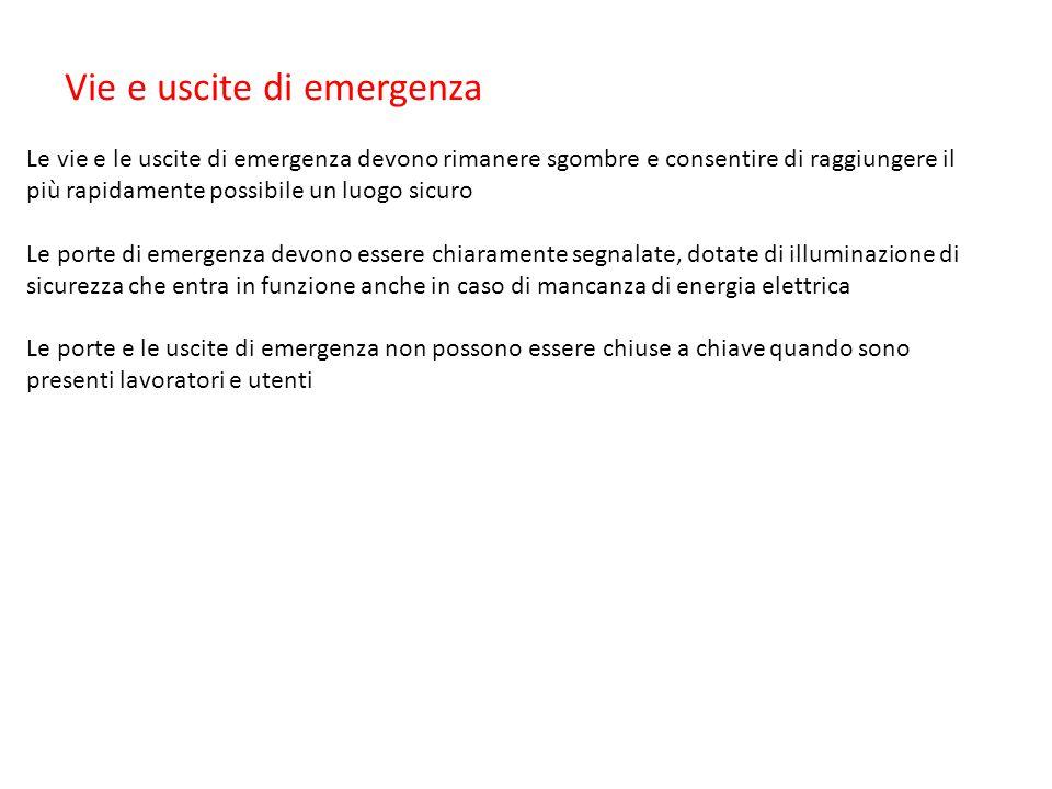 Vie e uscite di emergenza Le vie e le uscite di emergenza devono rimanere sgombre e consentire di raggiungere il più rapidamente possibile un luogo si