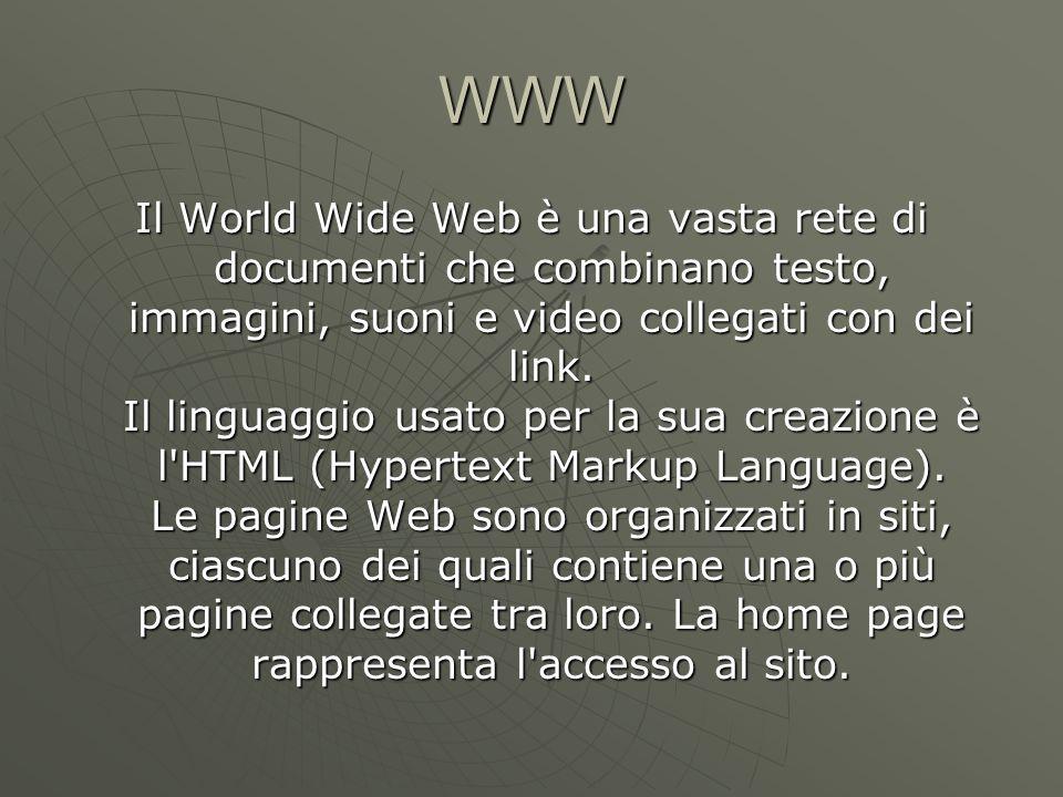 WWW Il World Wide Web è una vasta rete di documenti che combinano testo, immagini, suoni e video collegati con dei link.
