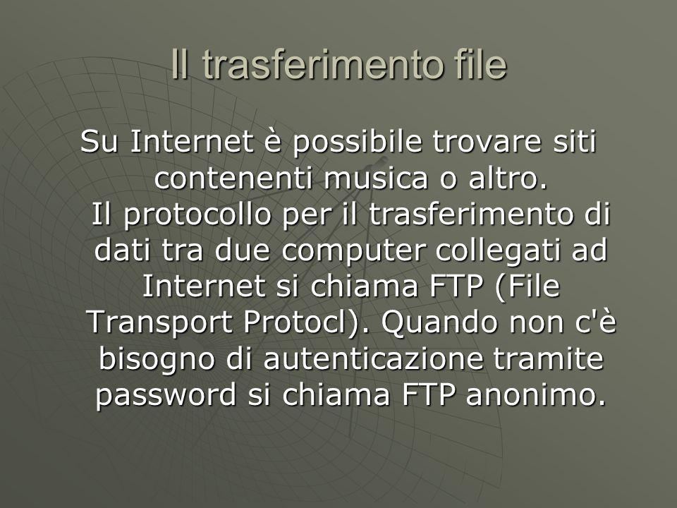 Il trasferimento file Su Internet è possibile trovare siti contenenti musica o altro.