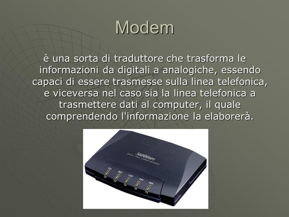Modem è una sorta di traduttore che trasforma le informazioni da digitali a analogiche, essendo capaci di essere trasmesse sulla linea telefonica, e viceversa nel caso sia la linea telefonica a trasmettere dati al computer, il quale comprendendo l informazione la elaborerà.