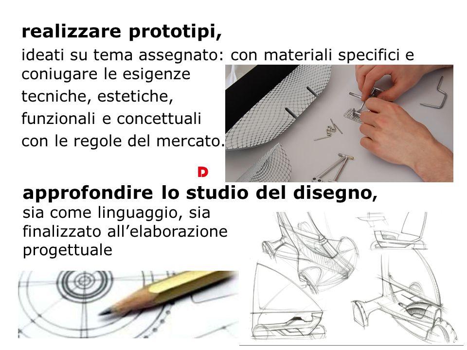realizzare prototipi, ideati su tema assegnato: con materiali specifici e coniugare le esigenze tecniche, estetiche, funzionali e concettuali con le regole del mercato.