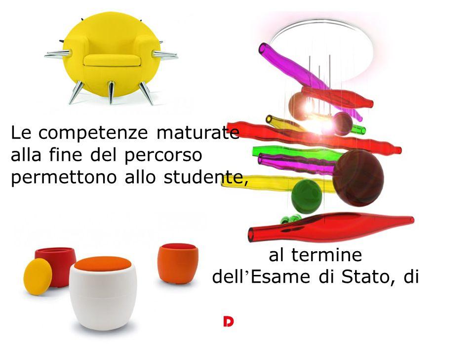 Le competenze maturate alla fine del percorso permettono allo studente, al termine dell ' Esame di Stato, di D