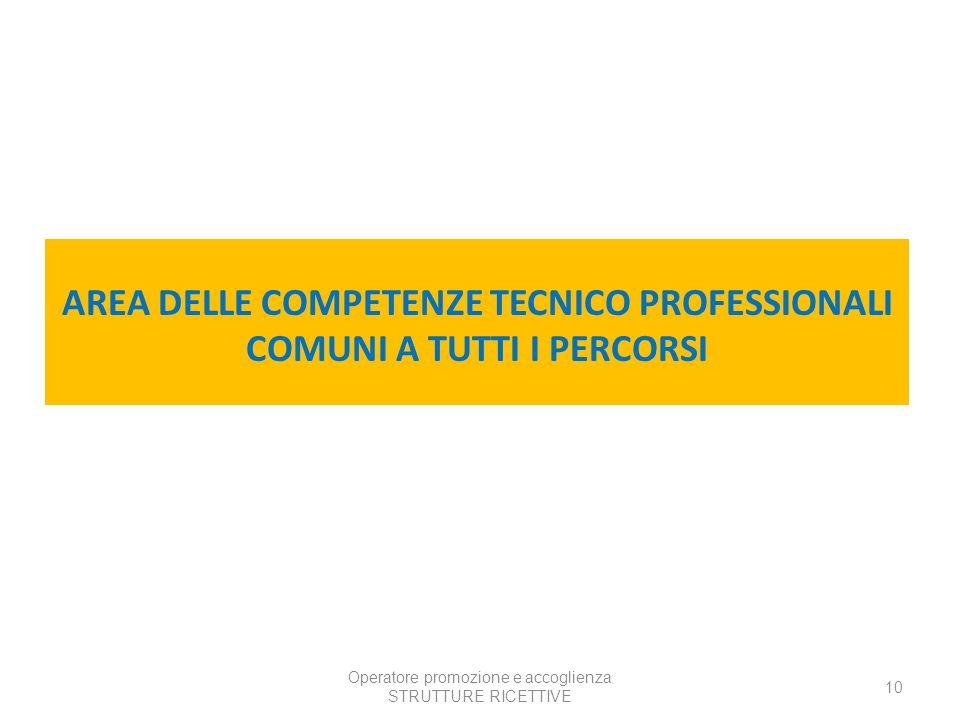 Operatore promozione e accoglienza STRUTTURE RICETTIVE 10 AREA DELLE COMPETENZE TECNICO PROFESSIONALI COMUNI A TUTTI I PERCORSI