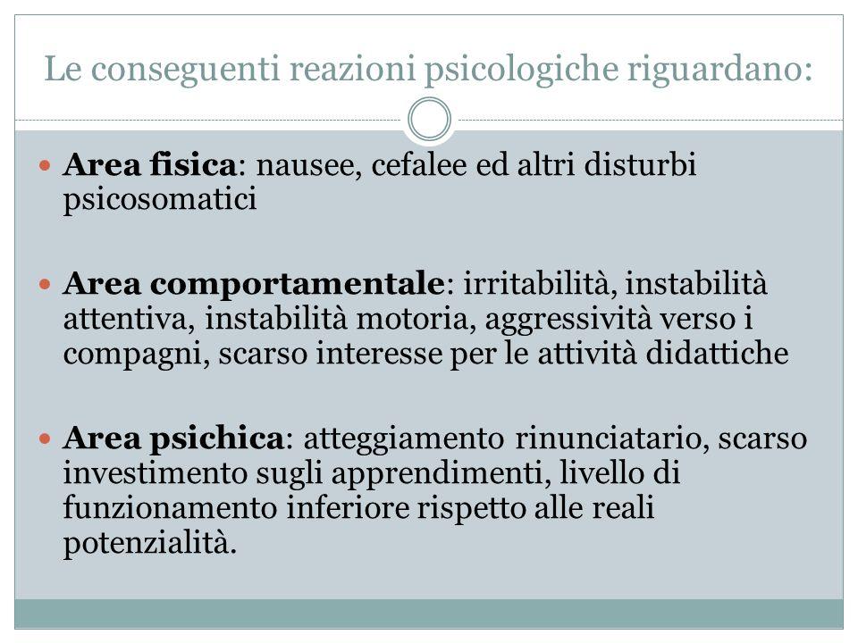 Le conseguenti reazioni psicologiche riguardano: Area fisica: nausee, cefalee ed altri disturbi psicosomatici Area comportamentale: irritabilità, inst