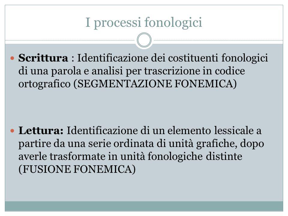 I processi fonologici Scrittura : Identificazione dei costituenti fonologici di una parola e analisi per trascrizione in codice ortografico (SEGMENTAZ