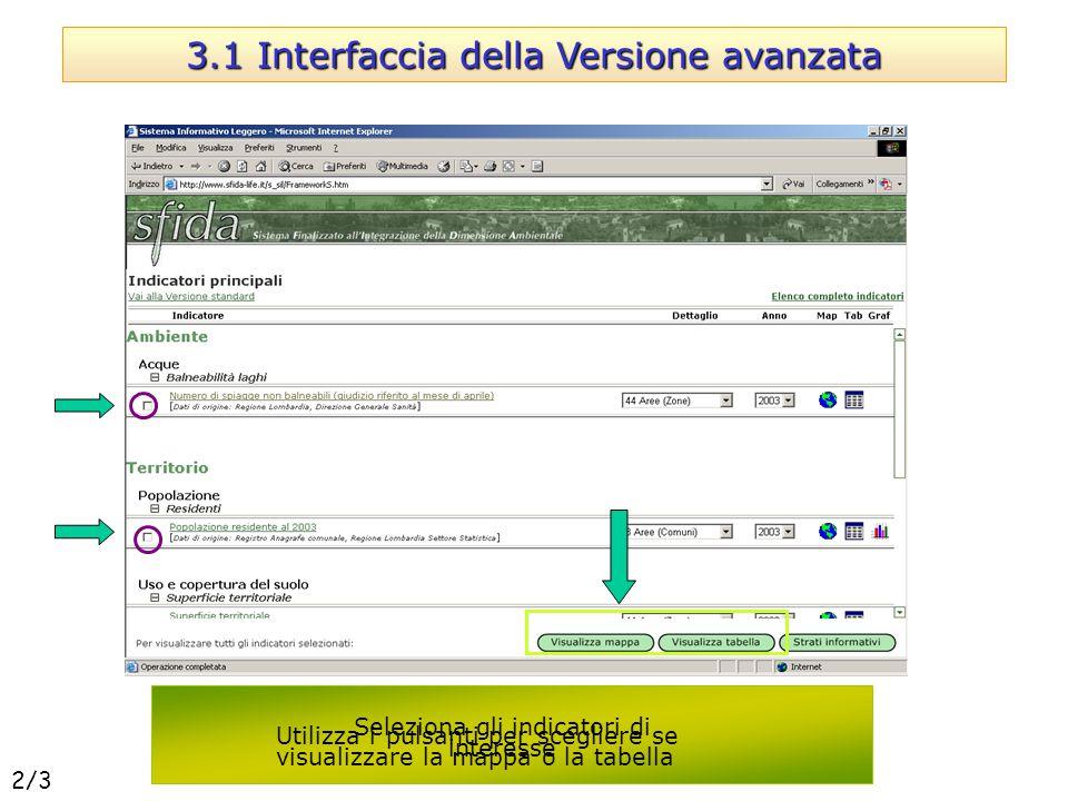 Utilizza i pulsanti per scegliere se visualizzare la mappa o la tabella 3.1 Interfaccia della Versione avanzata Seleziona gli indicatori di interesse