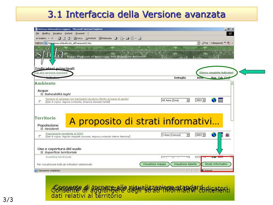 Consente di tornare alla visualizzazione standard Consente di aggiungere degli strati informativi contenenti dati relativi al territorio Consente di v