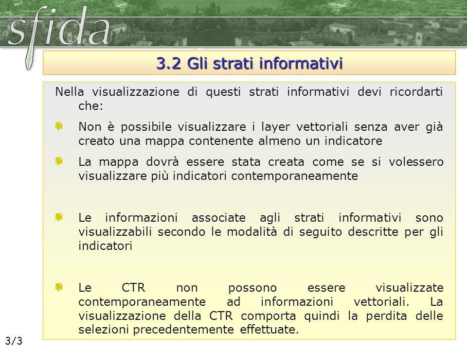 3.2 Gli strati informativi Nella visualizzazione di questi strati informativi devi ricordarti che: Non è possibile visualizzare i layer vettoriali sen