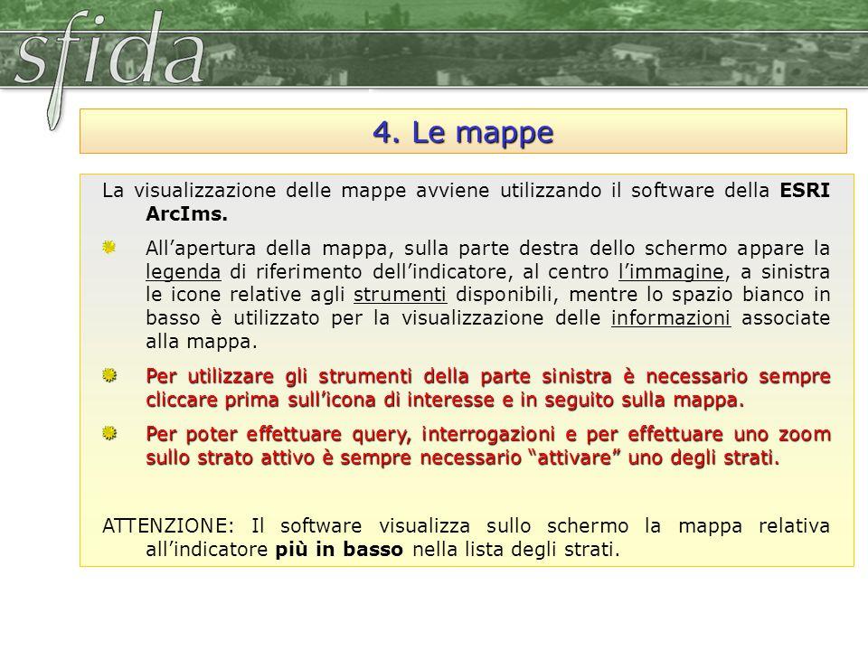 4. Le mappe La visualizzazione delle mappe avviene utilizzando il software della ESRI ArcIms. All'apertura della mappa, sulla parte destra dello scher
