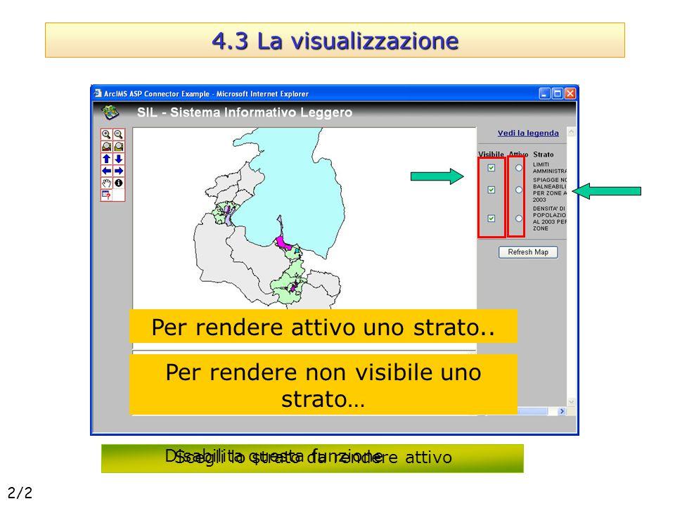 4.3 La visualizzazione Per rendere attivo uno strato.. Scegli lo strato da rendere attivo Per rendere non visibile uno strato… Disabilita questa funzi