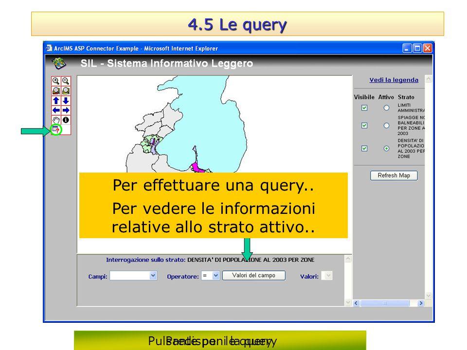 4.5 Le query Predisponi la query Per vedere le informazioni relative allo strato attivo.. Per effettuare una query.. Pulsante per le query