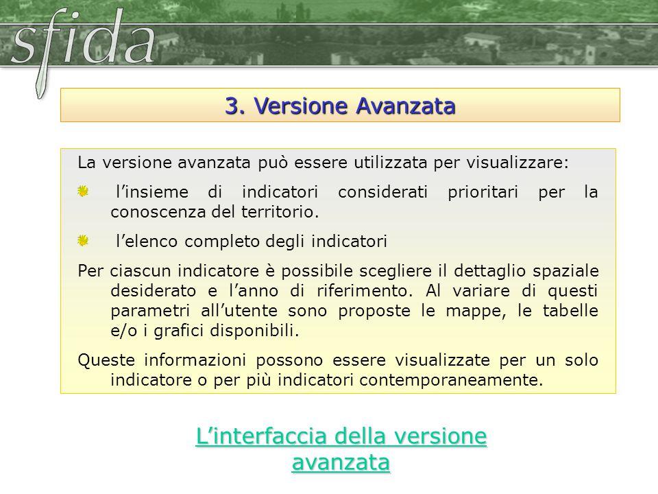 3. Versione Avanzata La versione avanzata può essere utilizzata per visualizzare: l'insieme di indicatori considerati prioritari per la conoscenza del