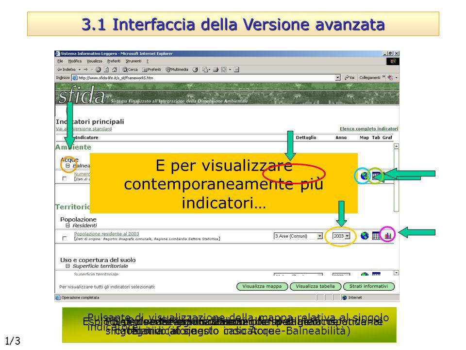 3.1 Interfaccia della Versione avanzata Esplodi per vedere gli indicatori riferiti alla corrispondente categoria (in questo caso Acque-Balneabilità) E