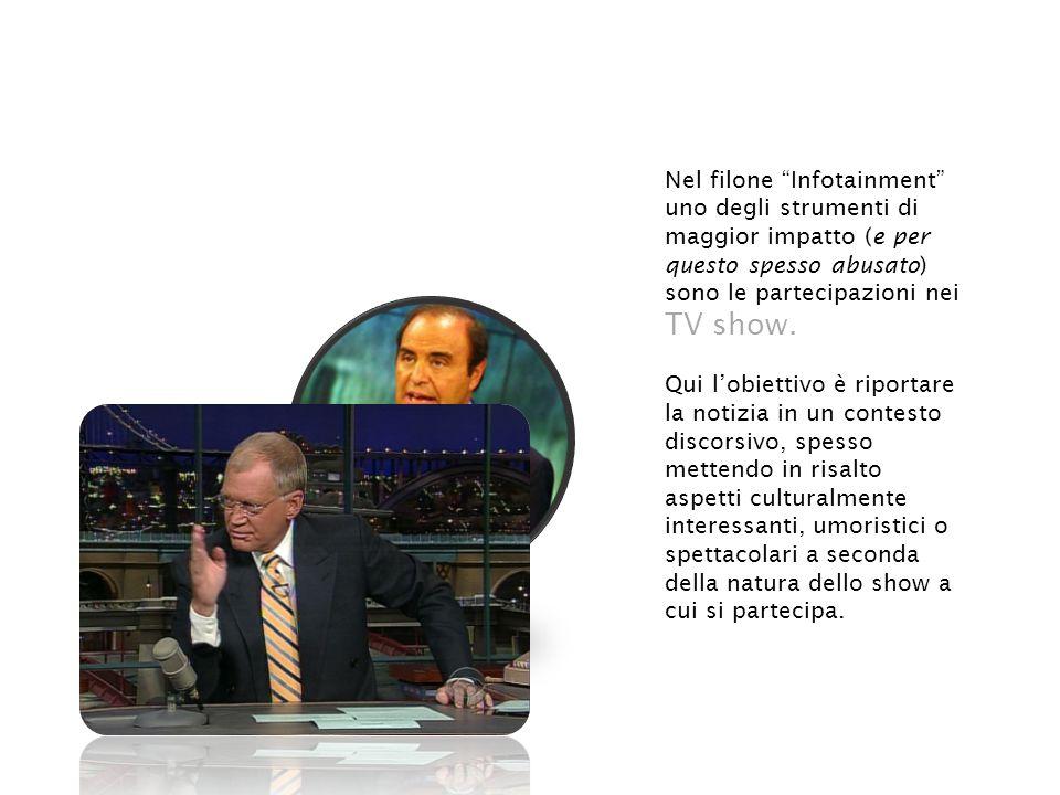 Nel filone Infotainment uno degli strumenti di maggior impatto (e per questo spesso abusato) sono le partecipazioni nei TV show.