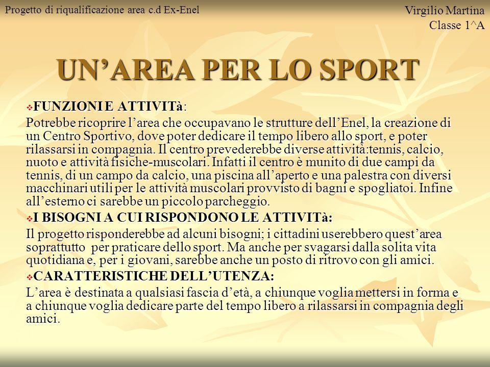 UN'AREA PER LO SPORT  FUNZIONI E ATTIVITà: Potrebbe ricoprire l'area che occupavano le strutture dell'Enel, la creazione di un Centro Sportivo, dove poter dedicare il tempo libero allo sport, e poter rilassarsi in compagnia.
