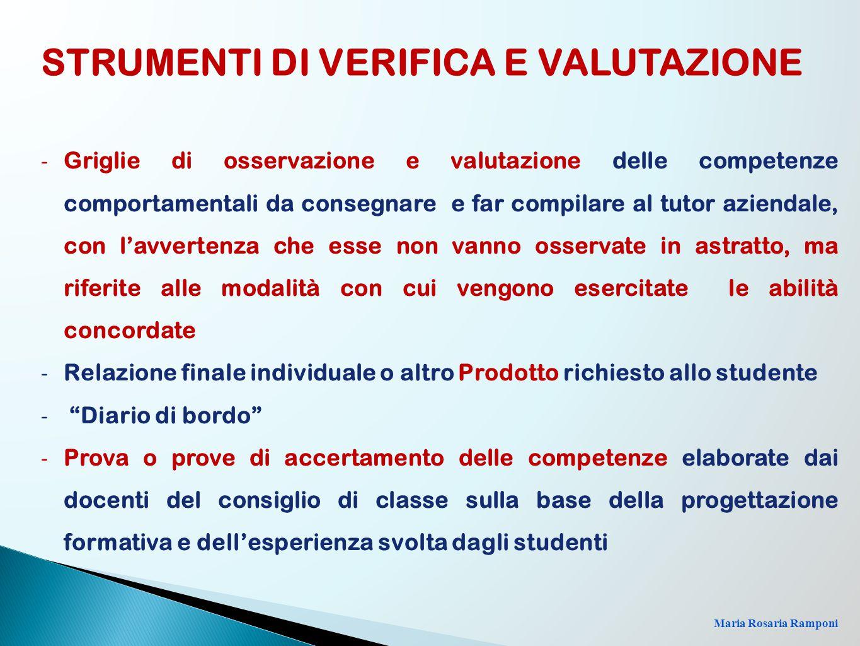 Maria Rosaria Ramponi - Griglie di osservazione e valutazione delle competenze comportamentali da consegnare e far compilare al tutor aziendale, con l
