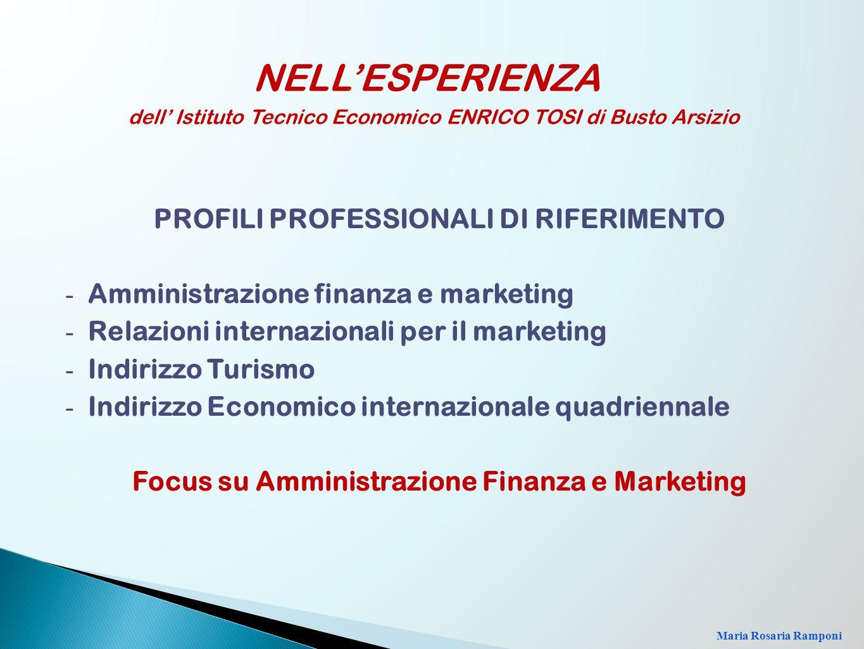 PROFILI PROFESSIONALI DI RIFERIMENTO - Amministrazione finanza e marketing - Relazioni internazionali per il marketing - Indirizzo Turismo - Indirizzo