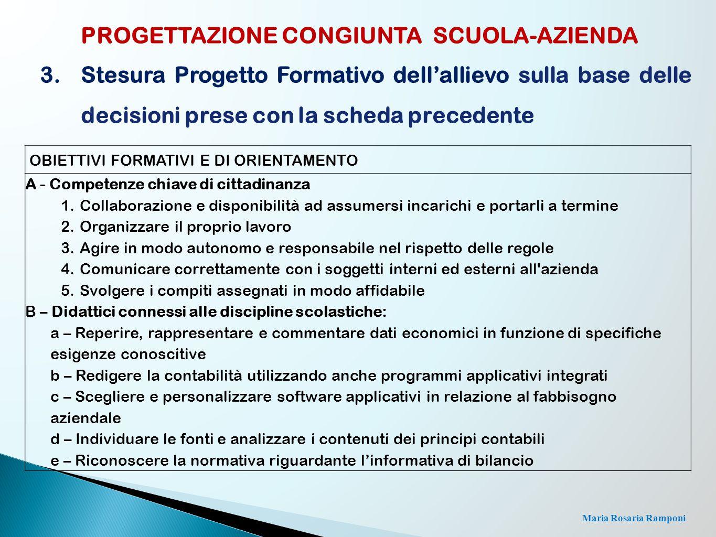 Maria Rosaria Ramponi PROGETTAZIONE CONGIUNTA SCUOLA-AZIENDA 3.Stesura Progetto Formativo dell'allievo sulla base delle decisioni prese con la scheda