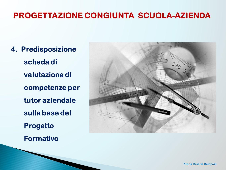 Maria Rosaria Ramponi 4. Predisposizione scheda di valutazione di competenze per tutor aziendale sulla base del Progetto Formativo PROGETTAZIONE CONGI