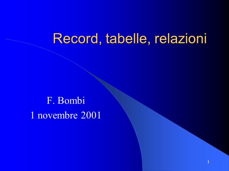 1 Record, tabelle, relazioni F. Bombi 1 novembre 2001