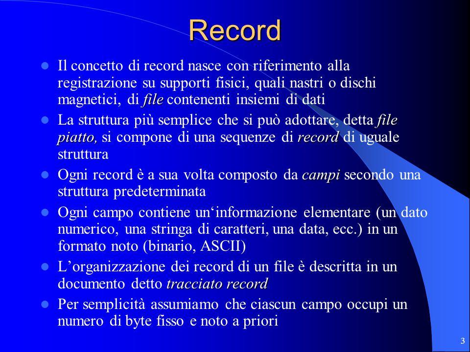 3Record file Il concetto di record nasce con riferimento alla registrazione su supporti fisici, quali nastri o dischi magnetici, di file contenenti insiemi di dati file piatto,record La struttura più semplice che si può adottare, detta file piatto, si compone di una sequenze di record di uguale struttura campi Ogni record è a sua volta composto da campi secondo una struttura predeterminata Ogni campo contiene un'informazione elementare (un dato numerico, una stringa di caratteri, una data, ecc.) in un formato noto (binario, ASCII) tracciato record L'organizzazione dei record di un file è descritta in un documento detto tracciato record Per semplicità assumiamo che ciascun campo occupi un numero di byte fisso e noto a priori