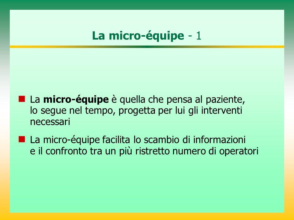 La micro-équipe - 1 La micro-équipe è quella che pensa al paziente, lo segue nel tempo, progetta per lui gli interventi necessari La micro-équipe facilita lo scambio di informazioni e il confronto tra un più ristretto numero di operatori