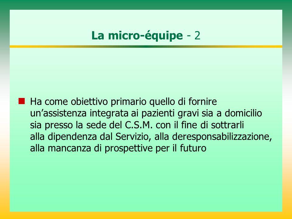 La micro-équipe - 2 Ha come obiettivo primario quello di fornire un'assistenza integrata ai pazienti gravi sia a domicilio sia presso la sede del C.S.M.