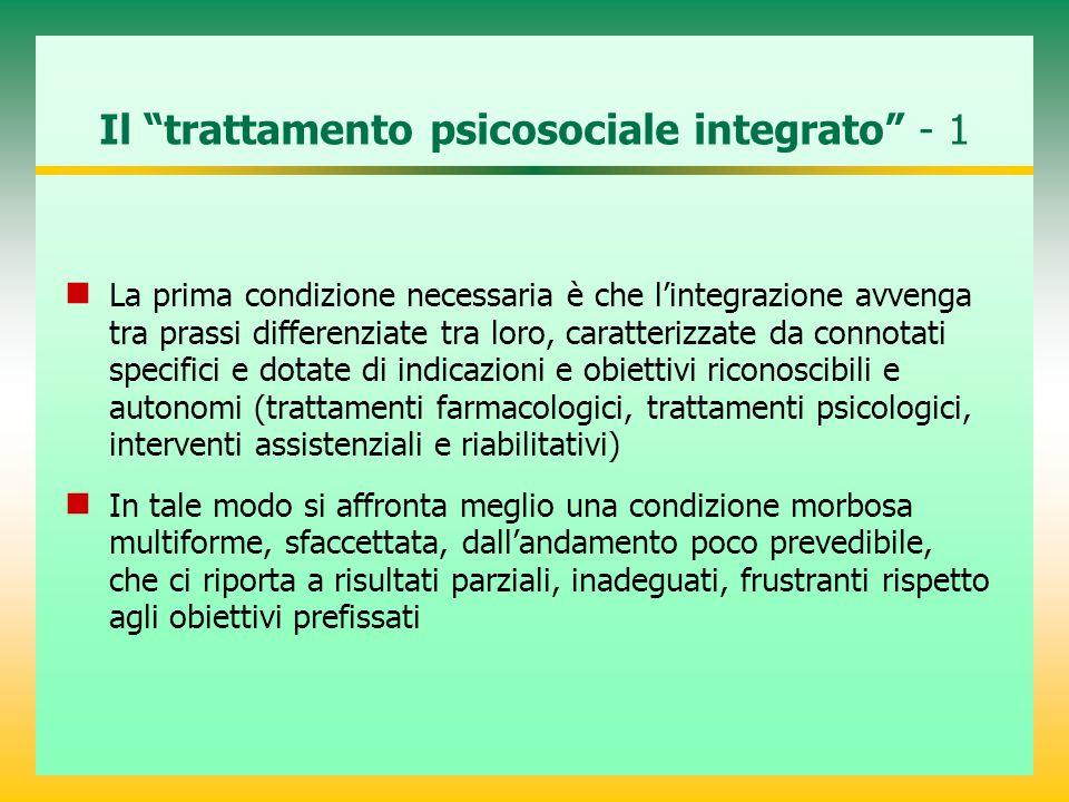 """Il """"trattamento psicosociale integrato"""" - 1 La prima condizione necessaria è che l'integrazione avvenga tra prassi differenziate tra loro, caratterizz"""