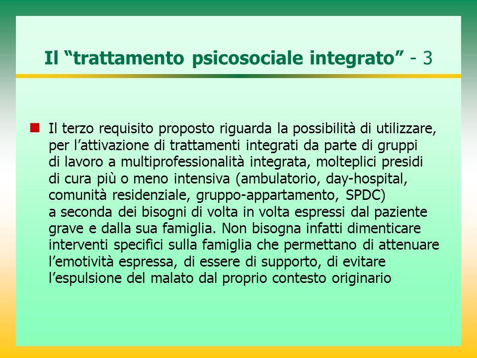 """Il """"trattamento psicosociale integrato"""" - 3 Il terzo requisito proposto riguarda la possibilità di utilizzare, per l'attivazione di trattamenti integr"""