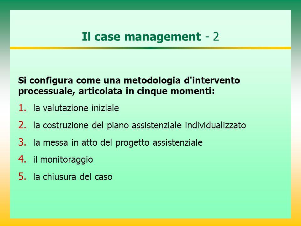 Il case management - 2 Si configura come una metodologia d'intervento processuale, articolata in cinque momenti: 1. la valutazione iniziale 2. la cost