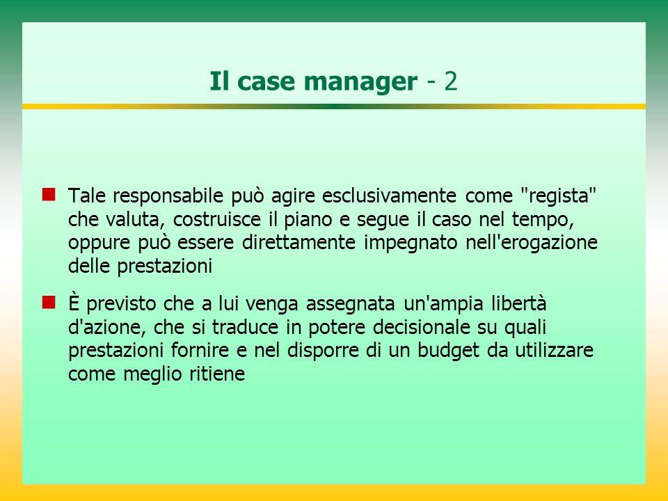 Il case manager - 2 Tale responsabile può agire esclusivamente come